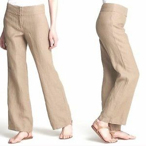 Eileen Fisher Linen Blend Wide Leg Pants in Taupe